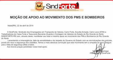 Moção de apoio ao movimento dos Policiais e Bombeiros do RN