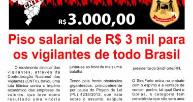 Piso salarial de R$ 3 mil para os vigilantes de todo o Brasil