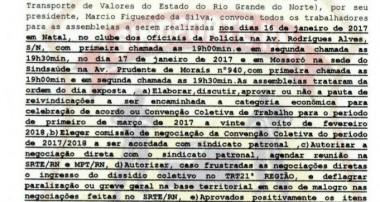 ASSEMBLÉIA EXTRAORDINÁRIA DIAS 16 e 17 EM NATAL e MOSSORÓ