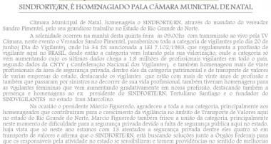 SINDFORTE/RN, É HOMENAGEADO PELA CÂMARA MUNICIPAL DE NATAL