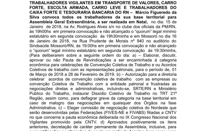 ASSEMBLEIA EXTRAORDINÁRIA DIA 15/01/2018