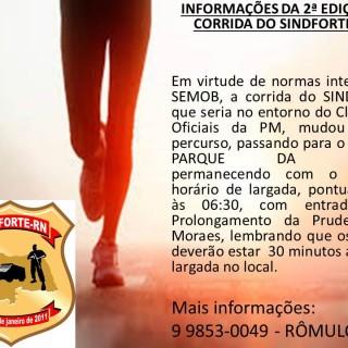 MUDANÇA DE PERCURSO DA 2ª EDIÇÃO DA CORRIDA DE RUA DO SINDFORTE/RN